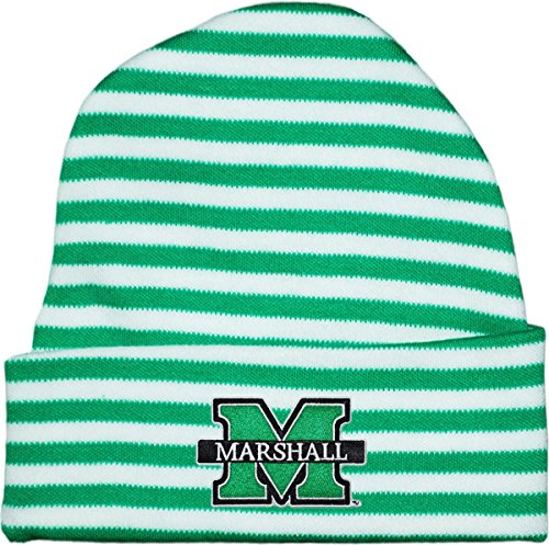 Creative Knitwear Marshall University Striped Newborn Knit Cap Kelly/White