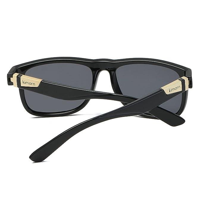 Kimorn Polarisierte Sonnenbrille Herren Quadratische Form Retro Unisex Brille K0585 (Matt-schwarz) 8l4dZHfEqY