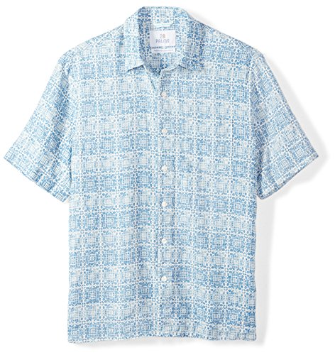 (28 Palms Men's Relaxed-Fit 100% Linen Reverse Print Shirt, Washed Blue Tile,)