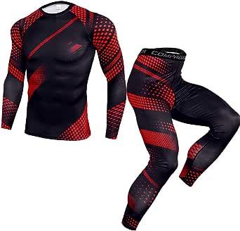 Corriee Men's Workout Set Long Sleeve Compression Shirt Long Pants Sport Set Mens 2 Piece Tracksuit Black