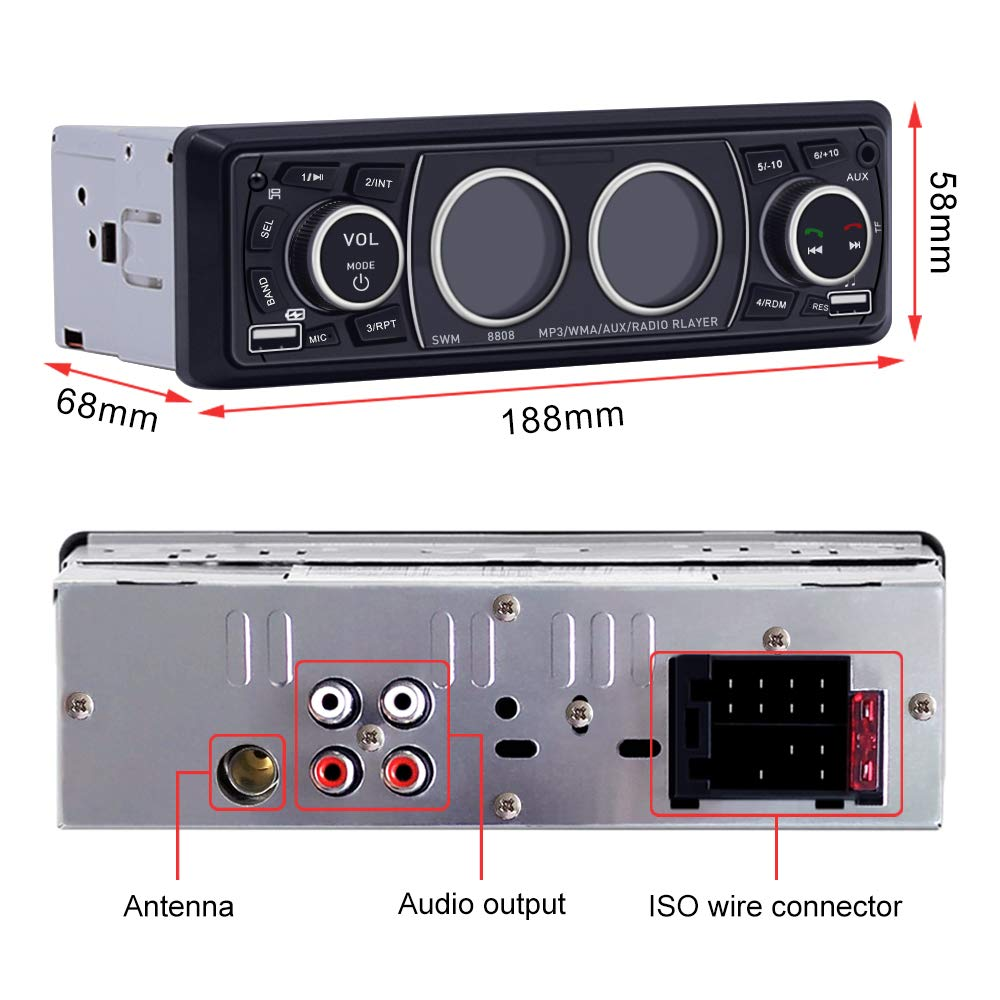 Car Stereo with Bluetooth Single Din Car Stereo Car Radio Car Audio Player Support Phone Fast Charge USB SD Card AUX in with Wireless Remote Control