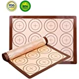 "Silicone Baking Mat Set - 2 Pack Non-Stick Silicon Liner for Bake Pans & Rolling with Measurements, Heat Resistant Cookie Sheets for Macaroon/Pastry/Cookie (16"" x 11.5"", Brown)"