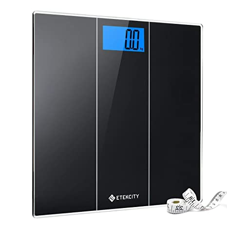 96728e87cfa5 Etekcity Digital Body Weight Bathroom Scale with Body Measuring Tape, Ultra  Accurate, Large Easy-to-Read Backlit LCD Display, Step-on Technology, 400  ...
