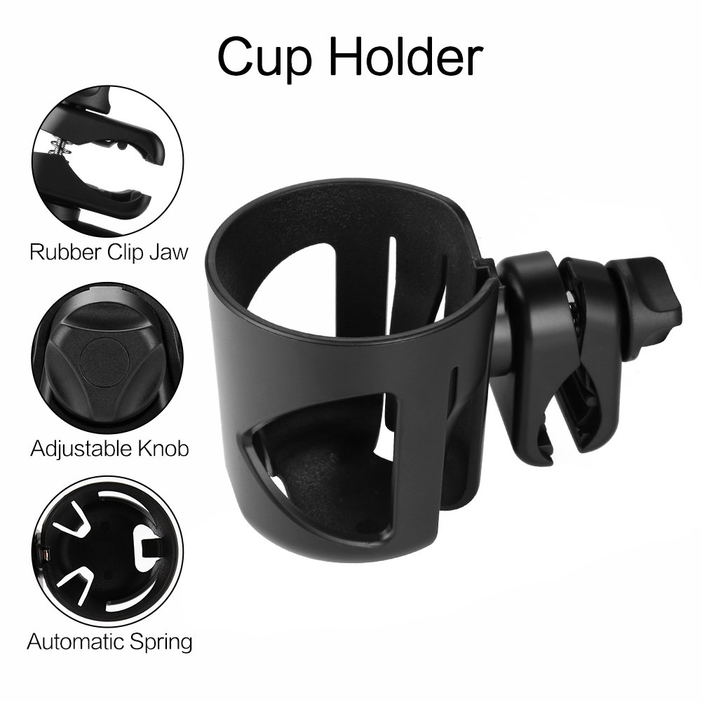 Universal Cup Holder by Accmor, Stroller Cup Holder, Large Caliber Designed Cup Holder, 360 Degrees Universal Rotation Cup Drink Holder, Black, 2 Pack by Accmor (Image #3)