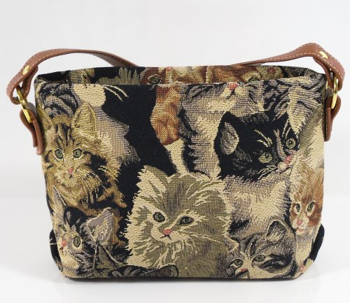 Kleine, verstellbare Royaltex Schulter/Umhängetasche für Damen (Katze) - im Gobelin-Stil