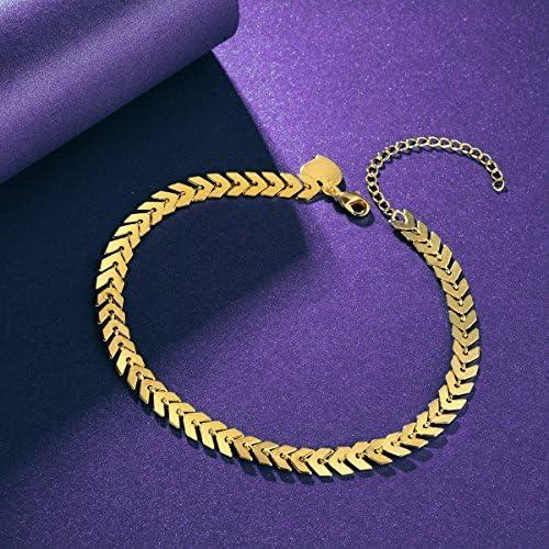Fettero Anklet Bracelet Handmade Beach Boho Foot Jewelry Gold Heart Enamel Arrow Chevron Fishbone Chain Multicolored Seed Bead AK3-5