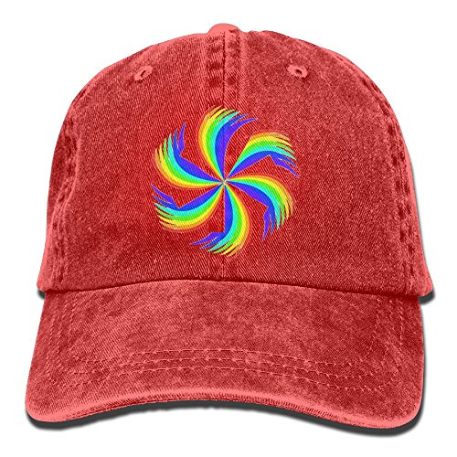 Arsmt Rainbow Pinwheel Denim Hat Adjustable Female Fitted Baseball (Pinwheel Fitted Hat Cap)
