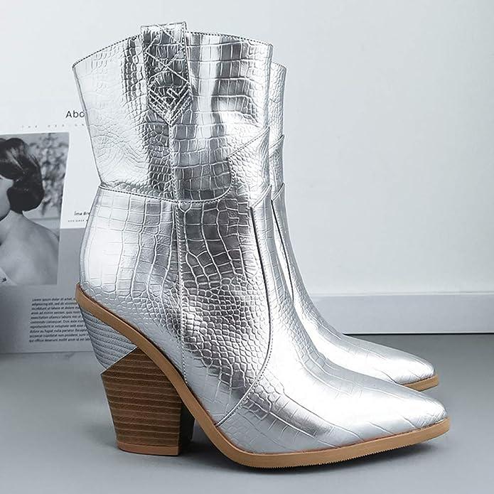 Lydee Femmes Mode Talon épais Western Boots Ankle High