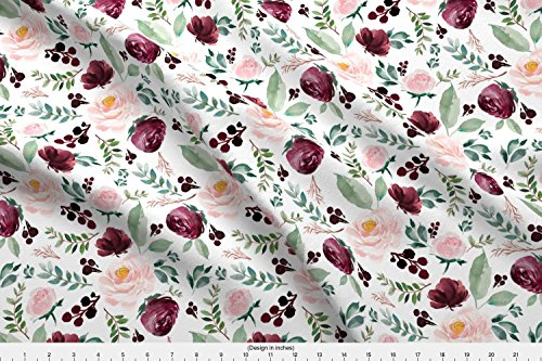 """Spoonflower Florals Fabric 8"""" Wild at Heart Florals/White by Shopcabin Printed on Minky Fabric by The Yard from Spoonflower"""