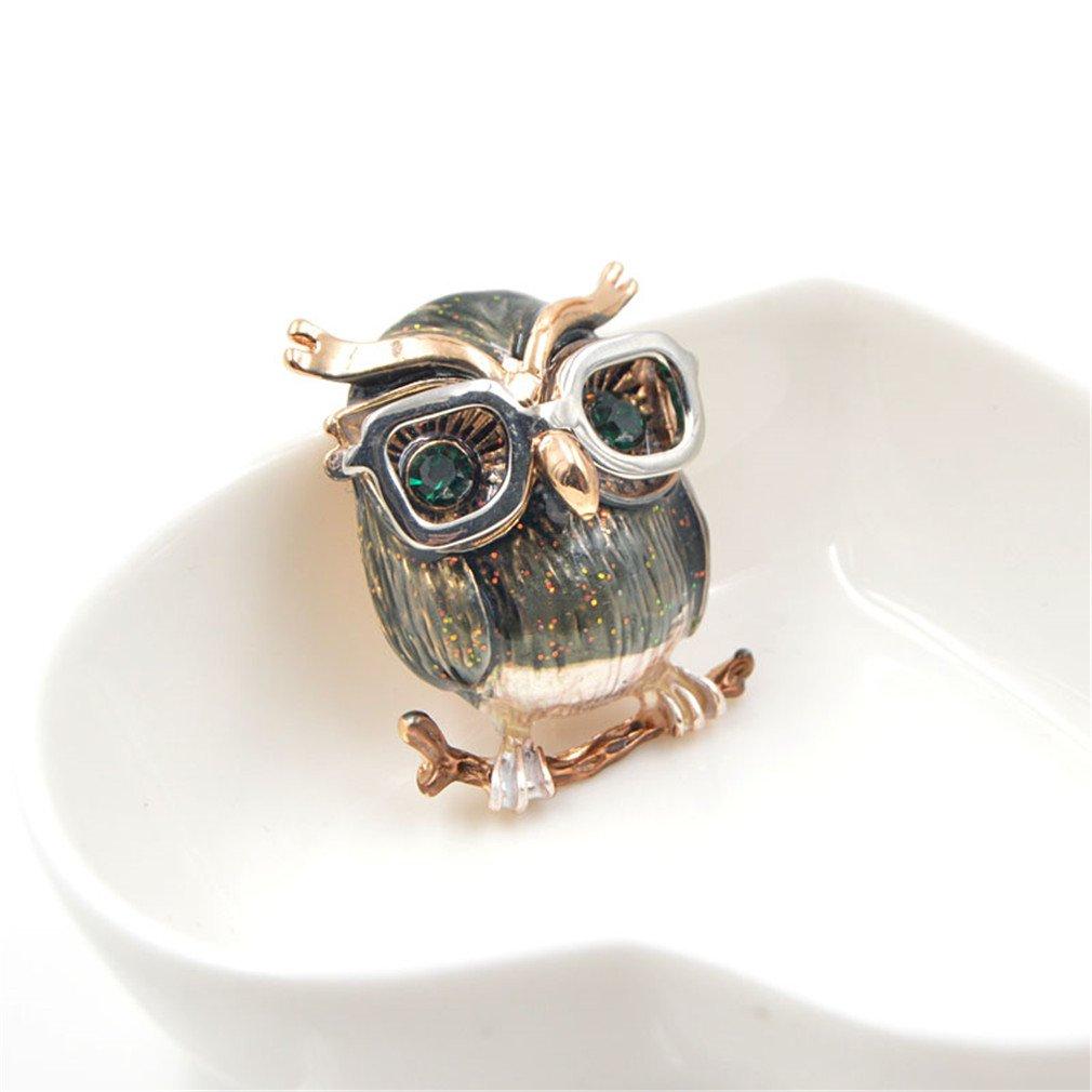 Sceneryero Cute Green Eyes Owl Brooch Wear Glasses Fashion Enamel Pin Animal Brooch Good Gift For Kids And Women New Years