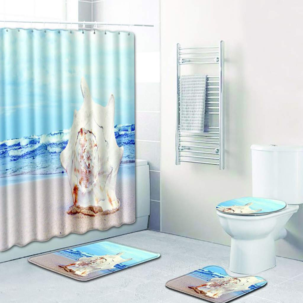 LUXISDE 4PCS Non Slip Toilet Polyester Cover Mat Set Bathroom Shower Curtain