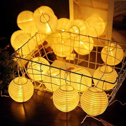 20 farolillos LED (blanco cálido) de Tiowea, para decoración exterior o jardín: Amazon.es: Jardín