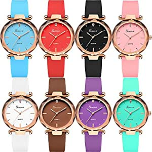 Yunanwa Wholesale Lot of 8 Pack Assorted Silicone Watch Women Men Unisex Jelly Watches (8pcs-639)