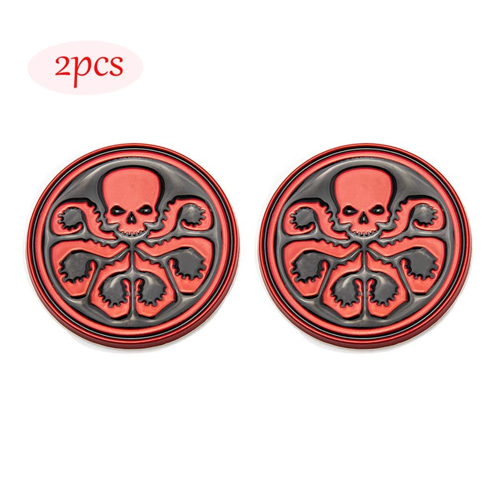 CARRUN 2PCS 3D HYDRA Marvel Skeleton Skull Octopus Animal Hot Metal Stickers Car Styling Motorcycle Accessories Badge Label Emblem Car Stickers Black