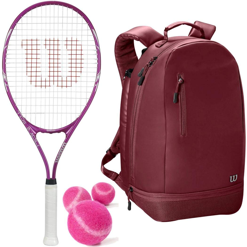 Wilson Triumph Pre-Strung Oversized Pink/White Tennis Racquet/Racket (4 1/4'' Grip) with a Purple Women's Minimalist Backpack and a Can of Pink Tennis Balls (Perfect for Women/Girls/Juniors)