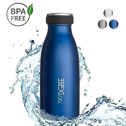 720°DGREE Botella Agua Acero Inoxidable milkyBottle – 500ml, 500 ml, 0.5l, Azul | Novedoso Antigoteo con Termo de vacío térmico termica Beber en el ...
