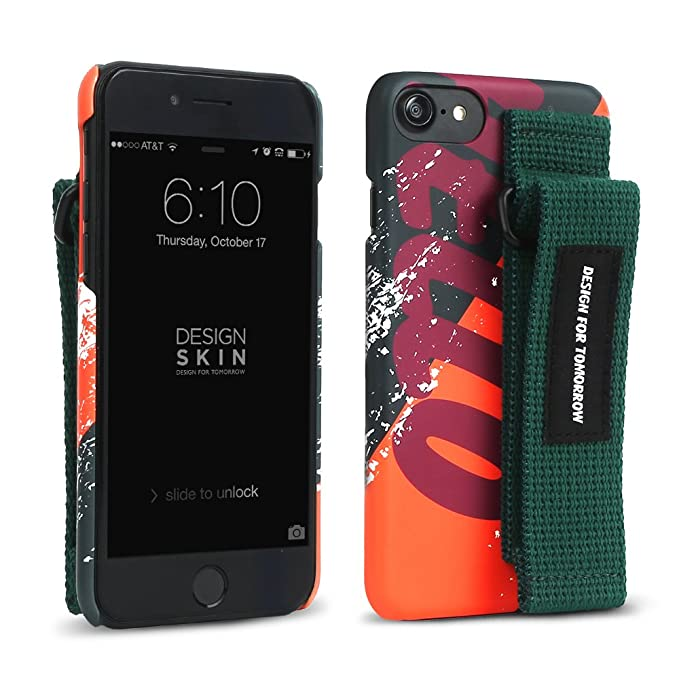 brand new fb63e c6b08 DesignSkin iPhone 8 Graphic Strap Case, Hook/Loop Velcro Hand Strap with  Kickstand for iPhone 8/7 / 6 Strap - Orange