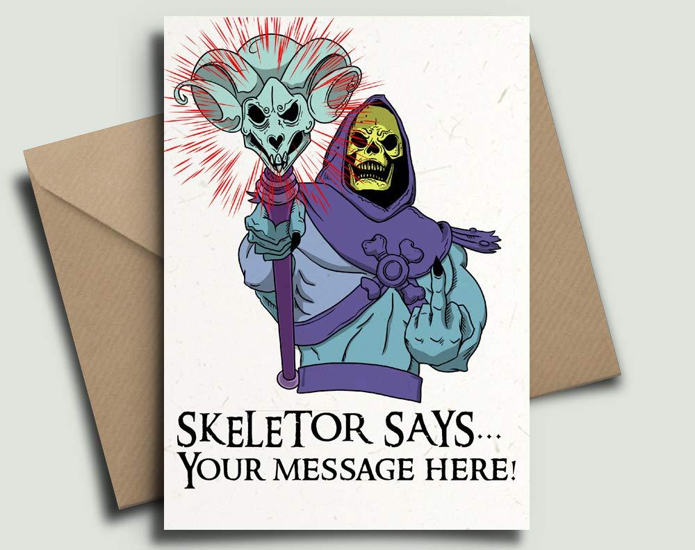 by Blind Eye Design Skeletor He-Man Masters of the Universe 80s Kids TV Personalised Birthday Card