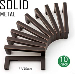 Koofizo Solid Square Bar Cabinet Handle - Oil Rubbed Bronze Furniture Pull, 3 Inch/76mm Screwhole Distance, 10-Pack for Kitchen Cupboard Door, Bedroom Dresser Drawer, Bathroom Wardrobe Hardware