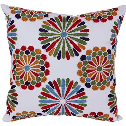 Bridgeso Throw Pillow Cover Brilliantly Colored Decorative Flowers Embroidered Cotton Linen Blend Cushion Sham for Bed, 18 x 18 inch (45 x 45 cm), Colorful (Embroidered Decorative Pillow Sham)