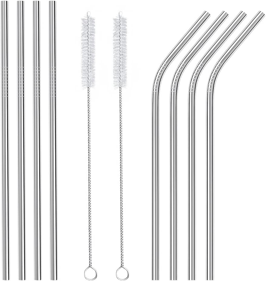 Metal Straws Stainless Steel 8 Pieces, Reusable Drinking Straw with 2 Cleaning Brush for Smoothie, Milkshake, Cocktail and Hot Drinks by Yodragon