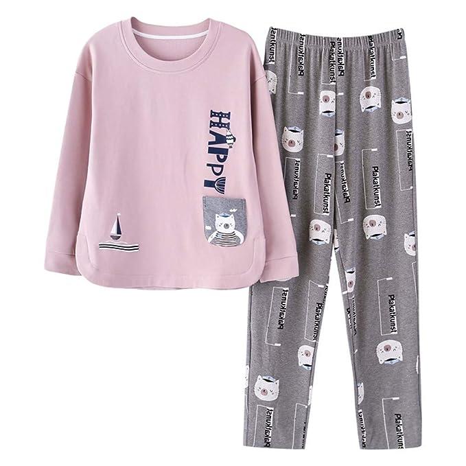 Chándal de algodón de Manga Larga de algodón de Pijamas para Mujer ...
