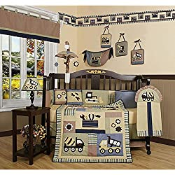 GEENY Construction Site Boy's 13-piece Crib Bedding Set, Coordinating Crib Quilt, Sheet, Skirt And Bumpers Transform Your Baby'S Bed Into A Hardworking Construction Site Complete With Dump Trucks And Bulldozers