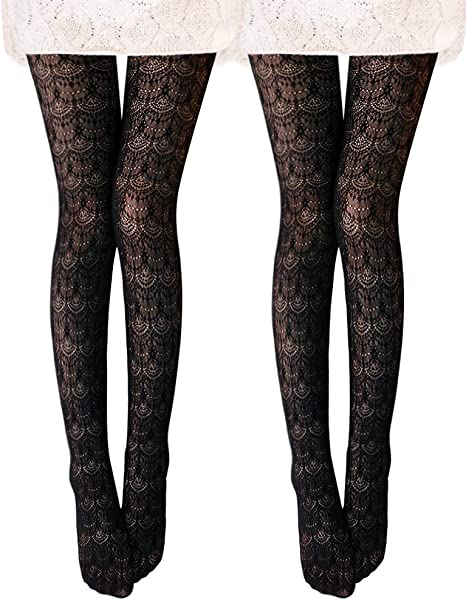 NEW WOMEN/'S LADIES BLACK PATTERNED TIGHTS 80 DENIER ONE SIZE S-M   R 27