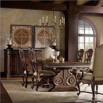 7 pc marble top double pedestal dining table set hooker furniture adagio piece rectangle 5 chairs dark oak finish counter height
