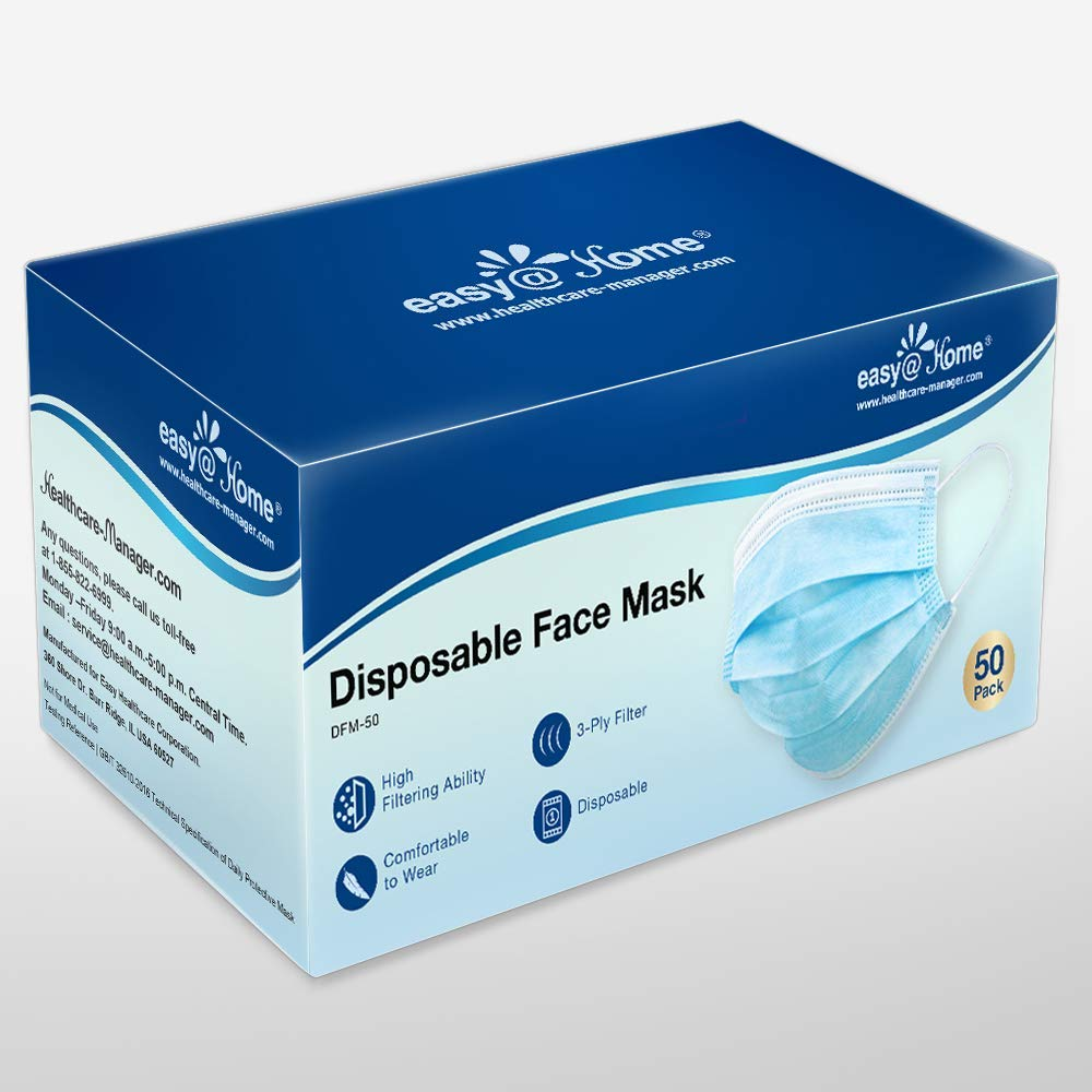 Easy@Home Face Shield (US Stock), Mouth Cover, 50 Ct – Disposable Safety Protection with Ear Loops for Home Use, Breathable & Comfortable 3-Ply Filter