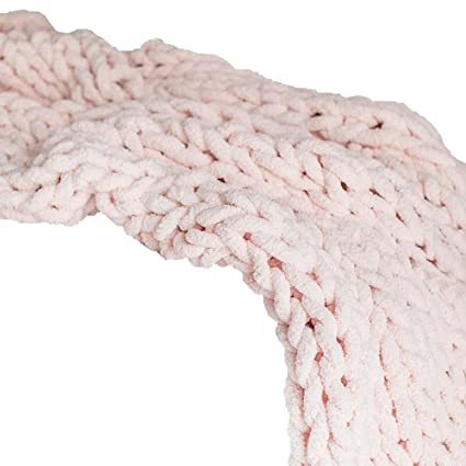 Amazon Com Chunky Chenille Knit Blanket Chunky Blanket Pink Giant