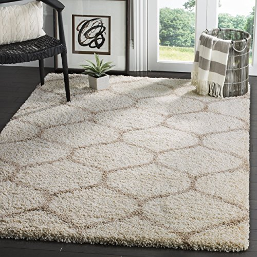 Safavieh Hudson Shag Collection Sgh280d Ivory And Beige Moroccan Ogee Plush Area Rug  9 Square