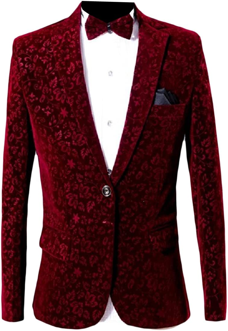 Sowme Men Notch Lapel Patch Floral Printed 2-Piece 1 Button Blazer Suit