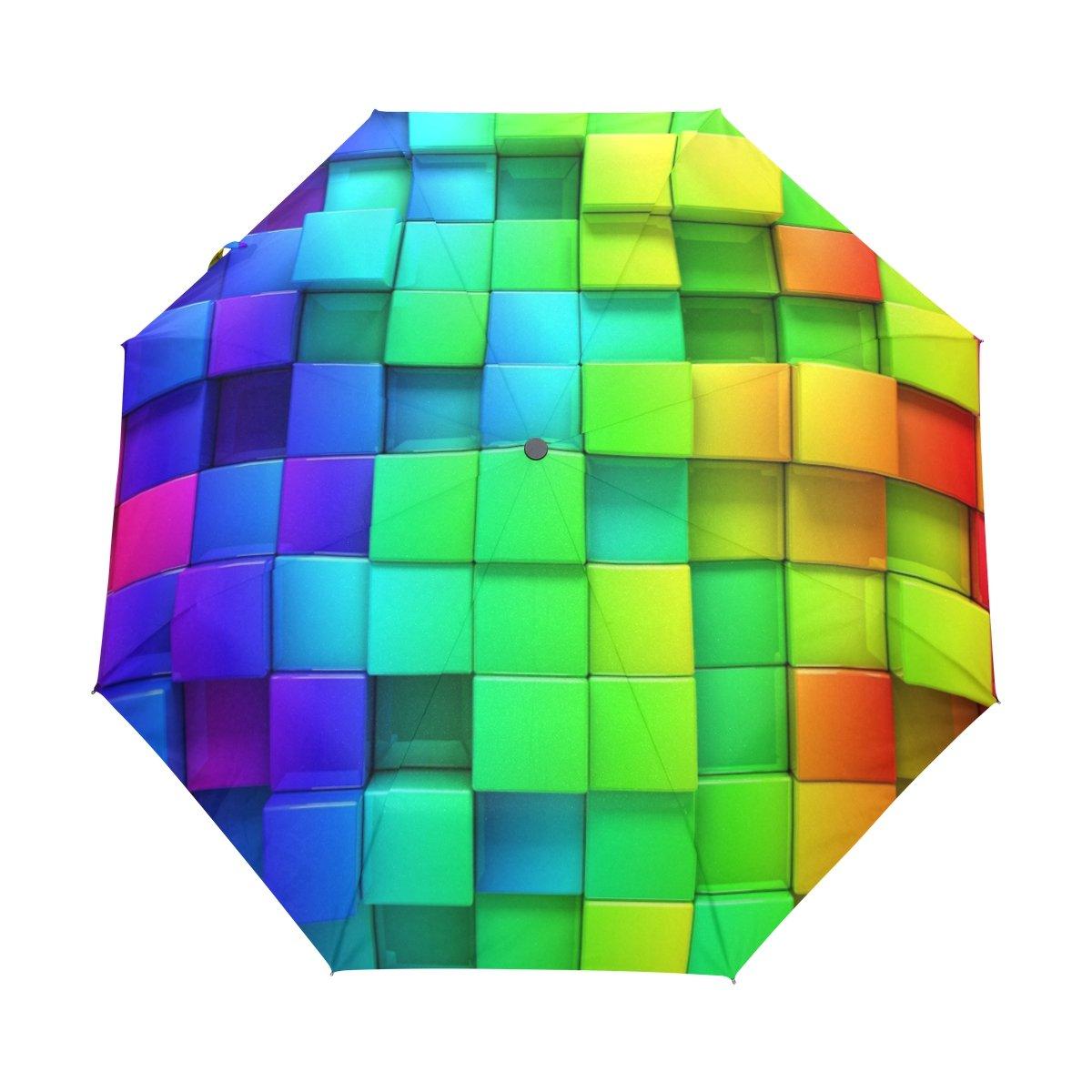 lavovoカラフル正方形傘ダブルキャノピー自動オープンand Close折りたたみ式旅行雨傘   B073TSVRBJ