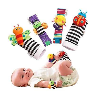 Los animales 4pcs Pie del bebé Desarrollo de la muñeca de la muñeca traqueteos y calcetines Conjunto Educativo Buscador de juguetes del regalo: Ropa y accesorios
