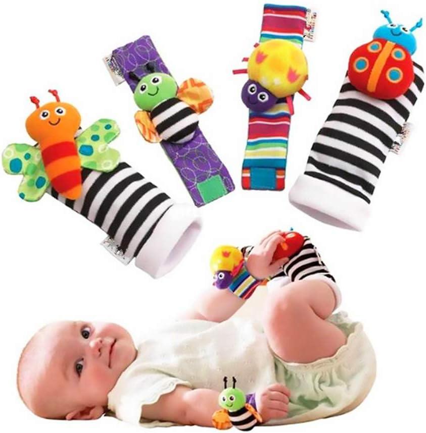 Infantil YaptheS 4 piezas animal del bebé de la muñeca de la muñeca traqueteos y el buscador del pie calcetines Conjunto de desarrollo educativo Peluches Ducha Cuidado regalo para su hijo