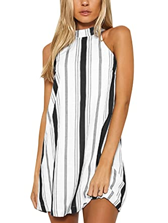 8351beb5bd7 YOINS Women Sexy Summer Mini Dress Stripe Halter Neck Sleeveless Backless  Dresses Black XS