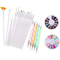 Yimart Pack of 20,Nail Art and Gel Acrylic Drawing Painting Brush Set with Dotting Pen Tools (B)