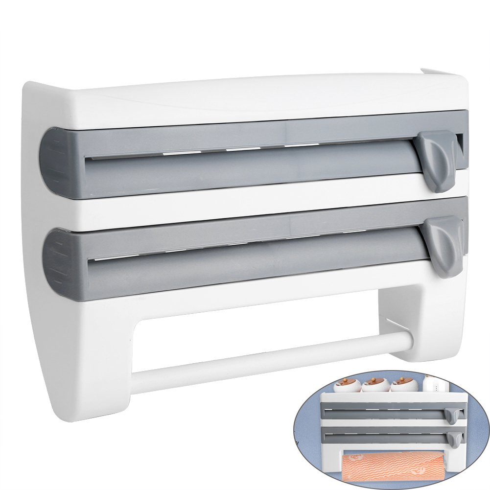 Kitchen Spice Rack, Wall Mounted Sauce Bottle Roll Holder Towel Paper Dispenser Organizer Shelf with Foil Film Cling Cut