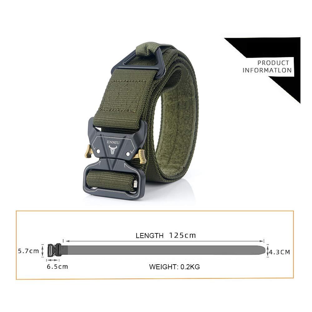 MASII Zinklegierung Buckle Outdoor Tactical Belt Herren Military Training G/ürtel Rescue Abseilen Sicherheit Nylon /äu/ßere Taille,Green