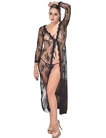 533000001b3 ohyeahlady Women s Sheer Floral Lace Long Nightgowns Plus Size Lingerie Robes  Black US ...