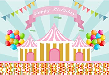 Amazon Com Dorcev 6x4ft Happy Birthday Photography Backdrop Cartoon Carnival Theme Kids Birthday Party Background Cartoon Fiesta Colorful Balloon Colorful Dot Kids Children Birthday Photo Studio Props Camera Photo