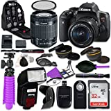 Canon T6i Rebel DSLR Camera with Canon 18-55mm IS STM Lens, Auxiliary Panoramic and Telephoto Lenses, 32GB Memory + Accessory Bundle
