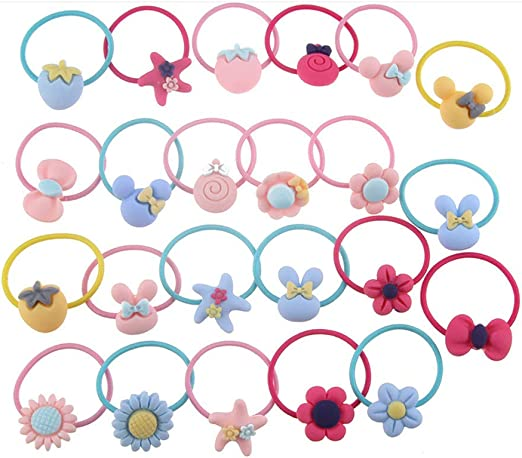 WillingTee 100pcs 50 Pairs Mix Colors Girls Elastic Hair Ties Soft Rubber Bands Hair Bands Holders Pigtails Hair Accessories for Girls Infants Toddlers Kids Teens and Children