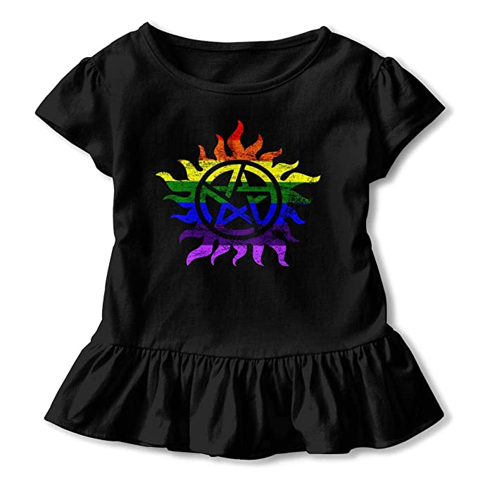 2-6 Years Vfbggg-Shirt Supernatural Baby Girls Short Sleeve Ruffle Tee Cotton Kids T Shirts