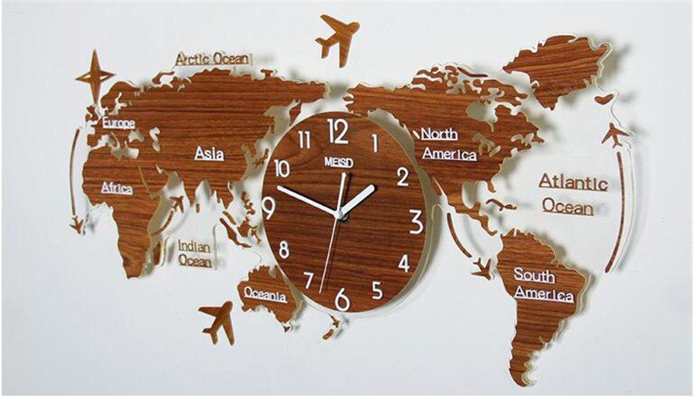 Petit Salon Personnalisé Horloge Murale Mute,74 34Cm,Un FUXINGXING Le Monde Créatif Moderne Et Minimaliste La Carte Horloge Murale