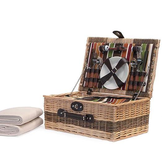 Buckingham 4 persona cesta de Picnic con manta - Ideas de regalo para Navidad -, cumpleaños, boda, aniversario