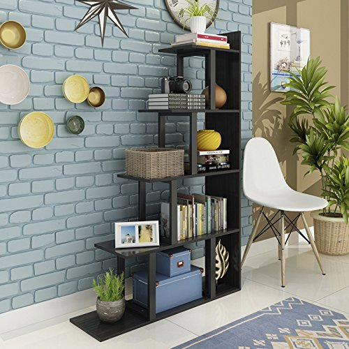 Tribesigns 5-Shelf Ladder Corner Bookshelf, Modern Simplism Style 63 '' H x 12'' W x 40''L, Made of Steel and Wood, for Living Room or Hallway (Black) by Tribesigns