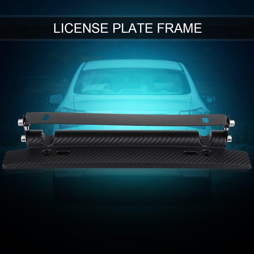 Terisass License Plate Frames Universal 180?Angle Adjustable Car License Registration Plate Tag Holder Carbon Fiber Tail Light Bracket Mount License Plate Bracket Tag Holder