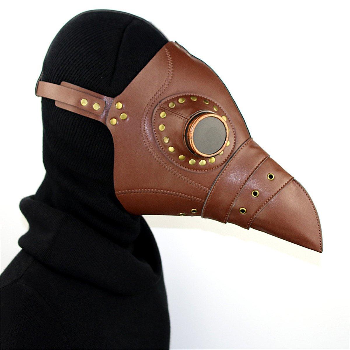 Qhome Steampunk Plague Beak Mask Gothic Cosplay Retro Doctor Bird Mask Brown